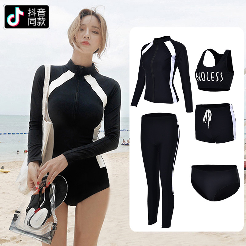 South Korean couple wetsuit female sunscreen jellyfish snorkeling swimsuit long-sleeved trousers show thin split suit surf suit