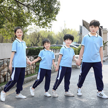 Junior high school students' school uniform class uniform summer short sleeve trousers sports suit kindergarten summer school uniform spring and Autumn