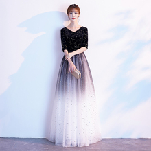 Black evening dress dress 2020 new banquet host noble conductor temperament chorus performance dress female long style