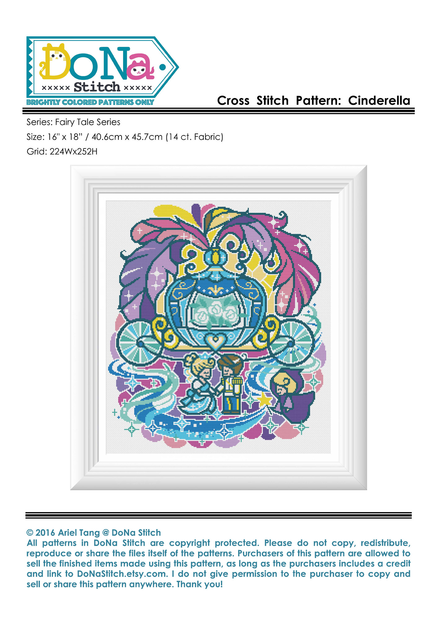 Cartoon Cinderella paper embroidery 9 pages 128g color spray can paper print