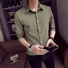 Fall new long-sleeved shirt Korean version trend short-sleeved men handsome seven-point Middle-Sleeve casual shirt