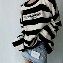 (Batch 5*) The correct version of TOMMY CASH MMM loose European and American embroidered striped sweater