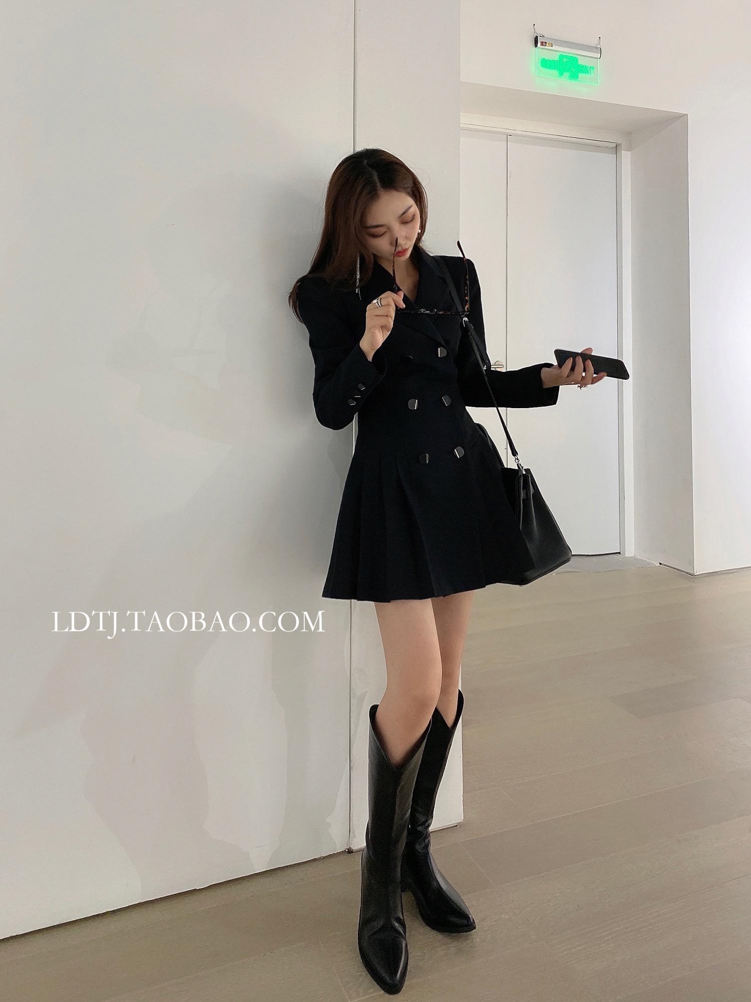 LDTJ Xu Ruichi Gao Wenying show thin pleated suit skirt 2020 autumn new black waist dress short girl