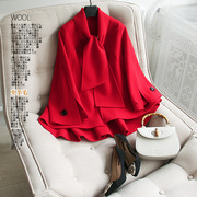 All wool! A short paragraph do 1000 grams ~ shock! Handmade scarf Cape models double-sided wool coat