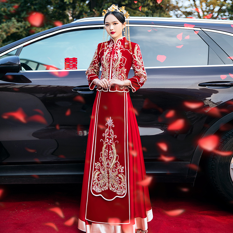Showwear 2020 new winter wedding bride dress female Chinese wedding dress 2020 show and dress winter