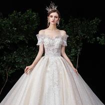 Основное свадебное платье 2019 новая невеста плечо Мори супер фея мечта звездное небо роскошь хвост 2020