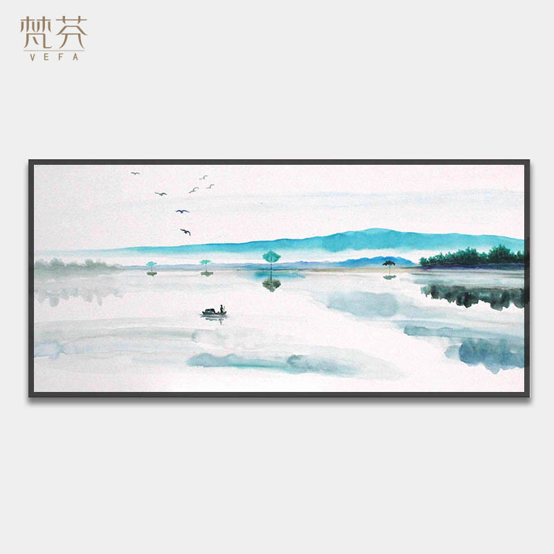 Hand-painted New Chinese Black-and-White Ink Painting Study Office Hang Painting Zen Decoration Painting Living Room Landscape Oil Painting