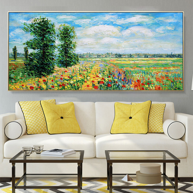 Moneverty Landscape Pure Hand-painted Impression Oil Painting Living Room Decorative Painting Sofa Background Wall Landscape Painting Famous Paintings