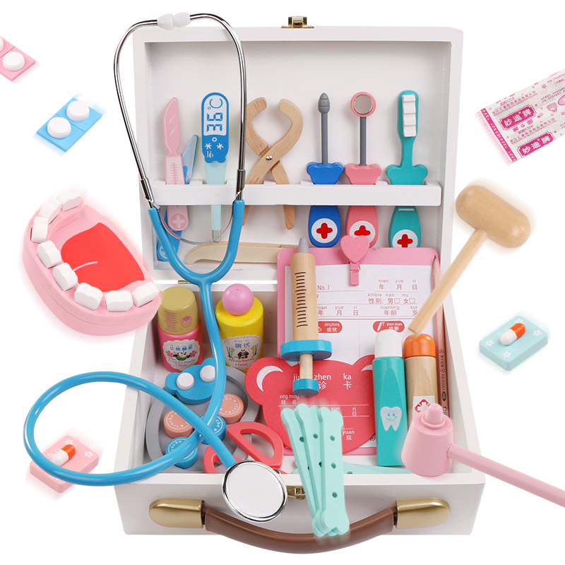 Simulated Doctor Toy Set Girls Medical Box Injection Nurses Boys and Children 4-6 Home Stethoscope