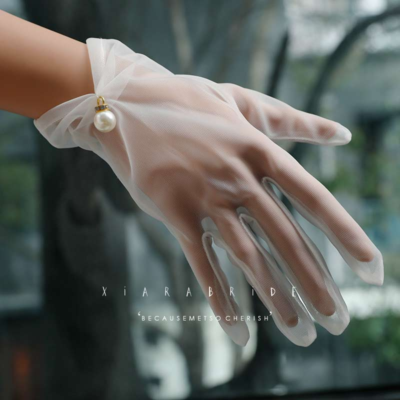 Xiala Korean summer simple gauze Gloves Wedding Accessories Bridal Wedding Gloves studio wedding accessories
