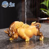 Boutique color change tea pet ornaments Buffalo golden Toad lucky Pixiu Tea table tea accessories Pet can be raised