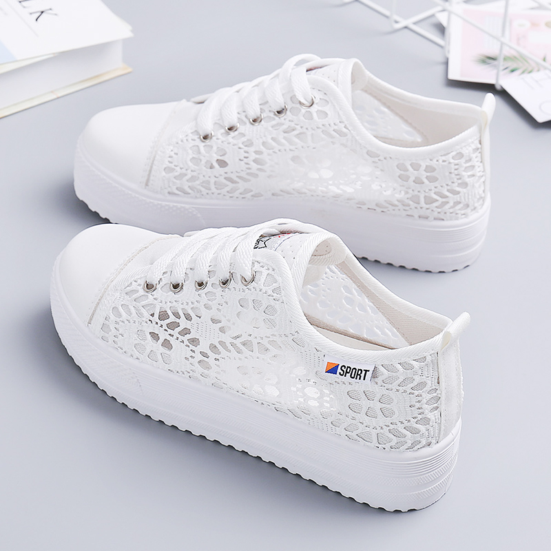 Summer hollow small white shoes women's summer thin 2020 new mesh flat sole shoes with breathable canvas shoes JP