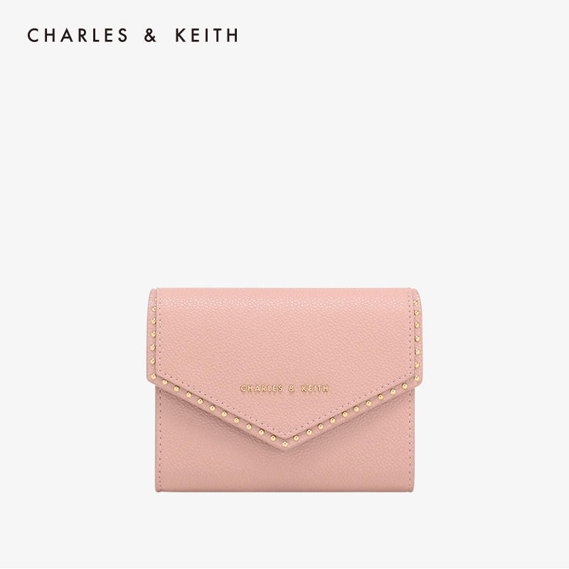CHARLES & KEITH Short Purse CK6-10680701 Riveted Simple Envelope Wallet