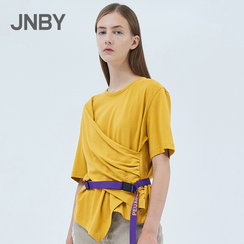 JNBY / Jiangnan cloth 20 spring / summer discount new T-shirt cotton simple round neck sleeve short sleeve women 5j4610150