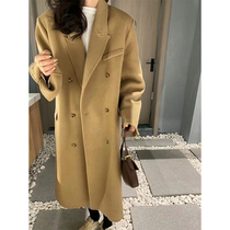 Double-sided cashmere coat womens long 2021 autumn and winter new Korean high-end handmade camel wool coat