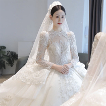 High-end main wedding dress 2021 new bride female long sleeve court style luxury big tailing heavy industry high texture winter