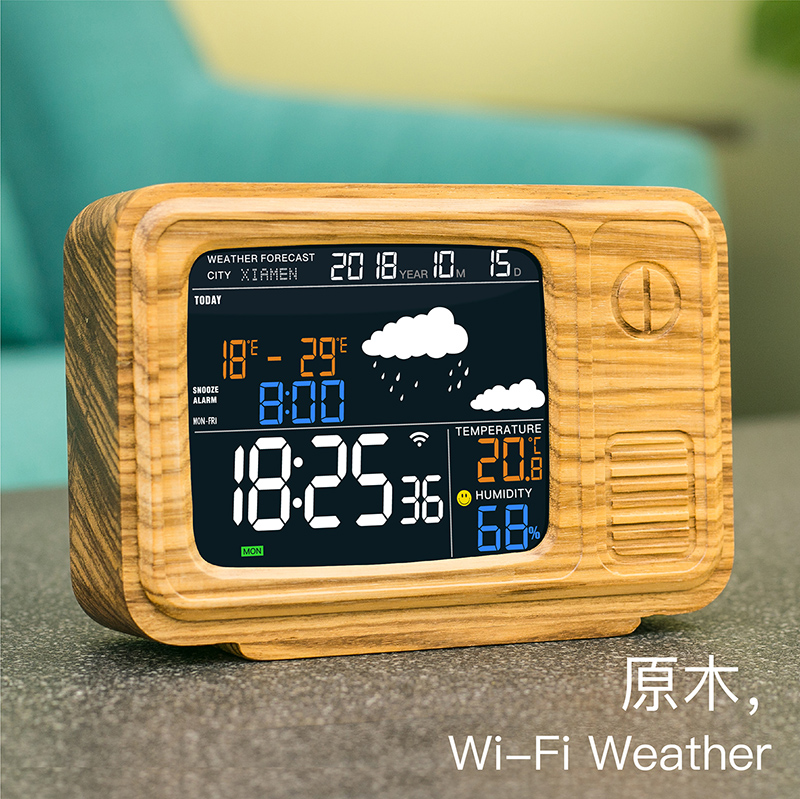 Wifi Weather Forecast APP Connecting Sleeping Alarm Clock to Global Automatic Positioning Timing for Solid Wood Carving Television
