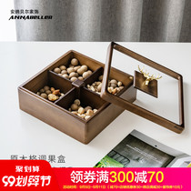 Solid wood dried fruit plate creative divided European-style light luxury household melon plate dried fruit box with lid Chinese living room candy box