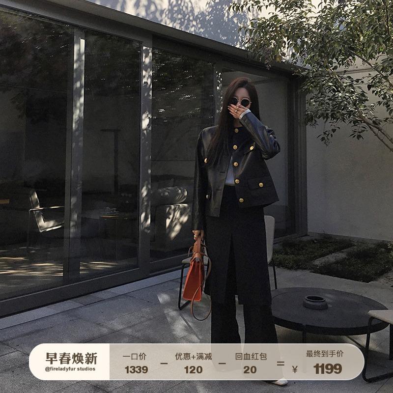 Fu Zhien atmosphere goddess imported leather leather female jacket black crew neck sheepskin leather jacket 2021 spring
