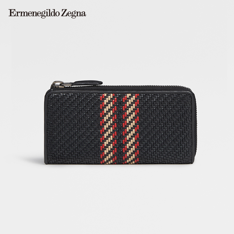 Ermenegildo Zegna Men's Autumn and Winter New PELLE TESSUTA European Wallet