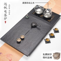 Natural black gold stone tea tray Automatic induction cooker All-in-one set Whole black gold stone tea underwater part on the water tea table