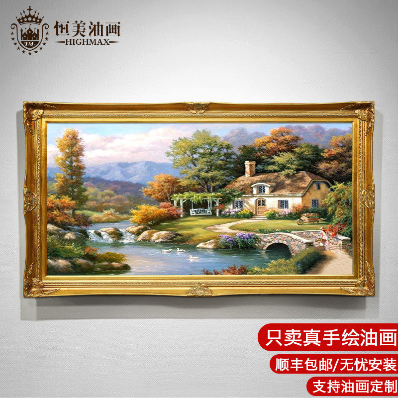 European-style hand-painted oil painting Thomas Garden Landscape Decoration Painting Living Room Dining Hall Point American-style hanging painting Taoyuan