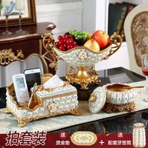 European modern fruit plate three sets of living room luxury creative Diamond Dry fruit plate home coffee table set ornaments