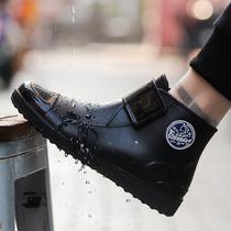 Pull back Rain Boots mens fashion short barrel rain boots autumn and winter plus cotton warm non-slip waterproof shoes shoes kitchen water shoes