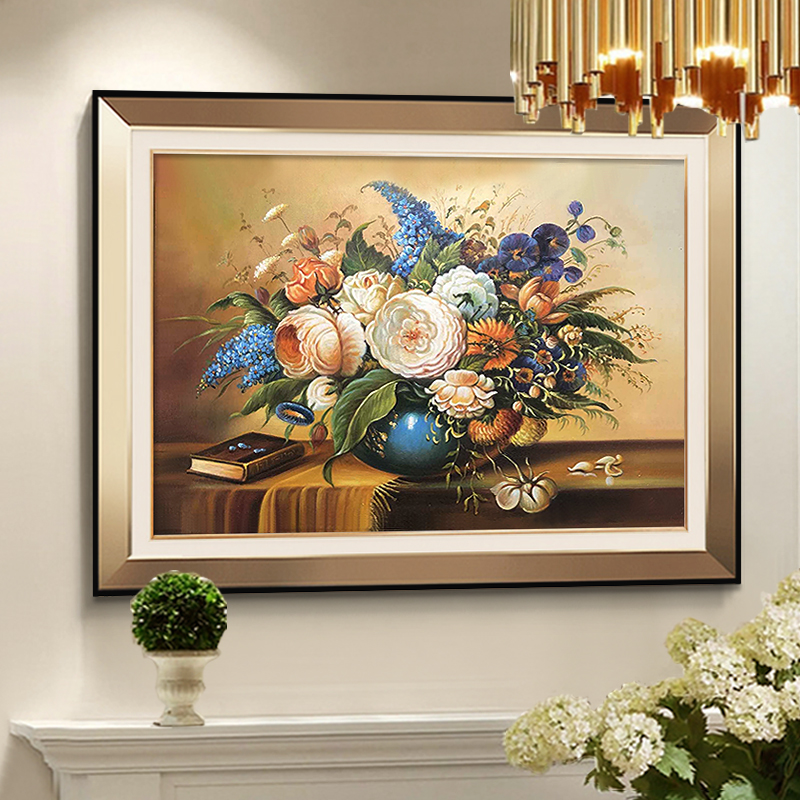 European Restaurant Decoration Painting American Lightweight Living Room Wall Fresco Point Hanging Painting Flowers Hand-painted Oil Painting