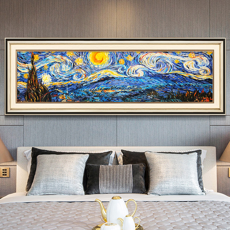 Van Gogh's Oil Painting Star Sky Modern European-style American Impressionist Landscape Frescoes Bedside Hanging Painting Bedroom Decoration Painting