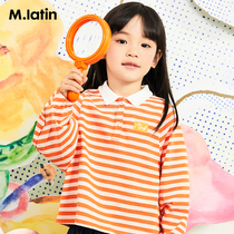 Maradin childrens clothing girls T-shirt spring 2020 new hit color stripe College Wind long-sleeved childrens T-shirt