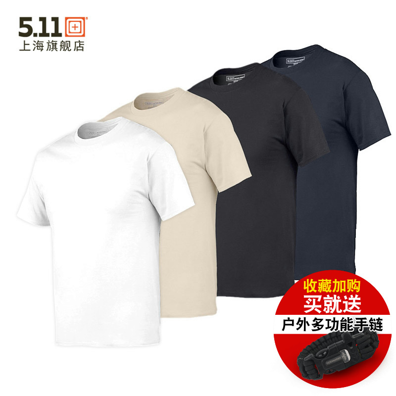 US 5.11 Tactical T-shirt 40016 Men's Cotton Pure Colour Round-collar Light 511 T-shirt with Short Sleeve