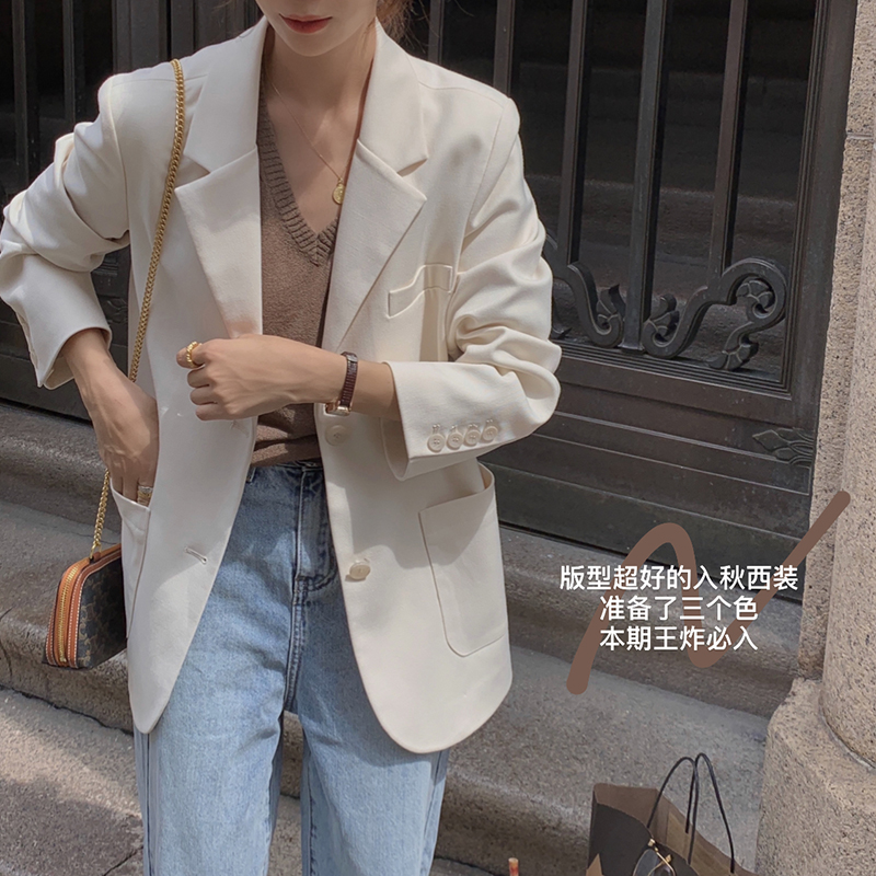 EKOOL custom silhouette loose blazer womens spring 2021 new Korean version of the wild thin casual suit