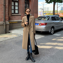 MULVAN long blazer womens winter leisure loose thin temperament over the knee trench coat thick black coat