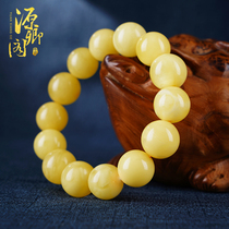 (Yuanxiang Pavilion)Amber beeswax hand string Single circle bracelet Natural single beads round beads necklace Pendant carved piece card 1