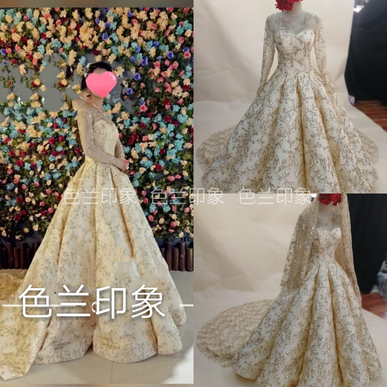 Color blue impression new tube skirt long-sleeved wedding dress foreign trade export wedding dress champagne gold wedding dress Muslim Hui wedding dress
