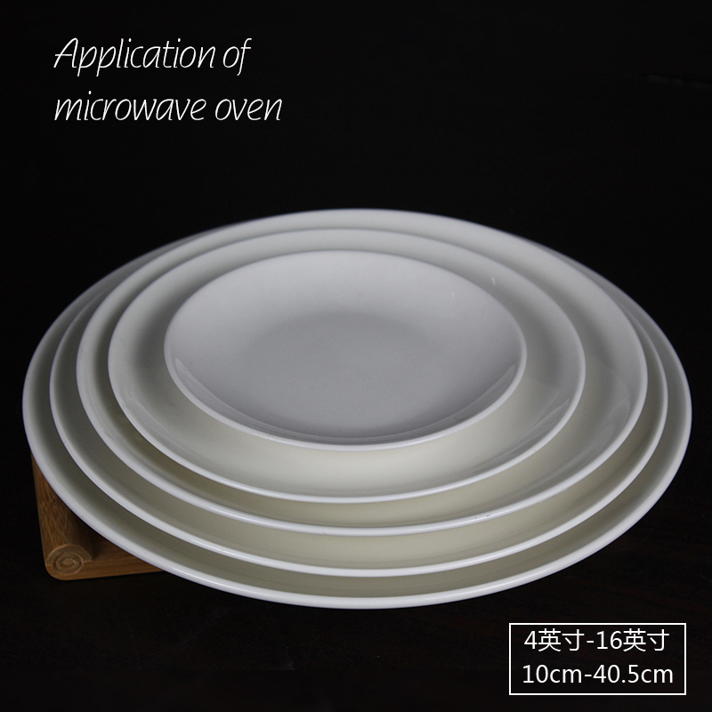Bone Porcelain Plate 8.5-14 inch Moon Disc Flat Steak Plate Cold Vegetable Plate Ceramic Plate