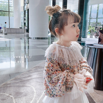 Girls sweater 2020 new spring dress loose patchwork sweater sweet princess cute round neck children jacket top