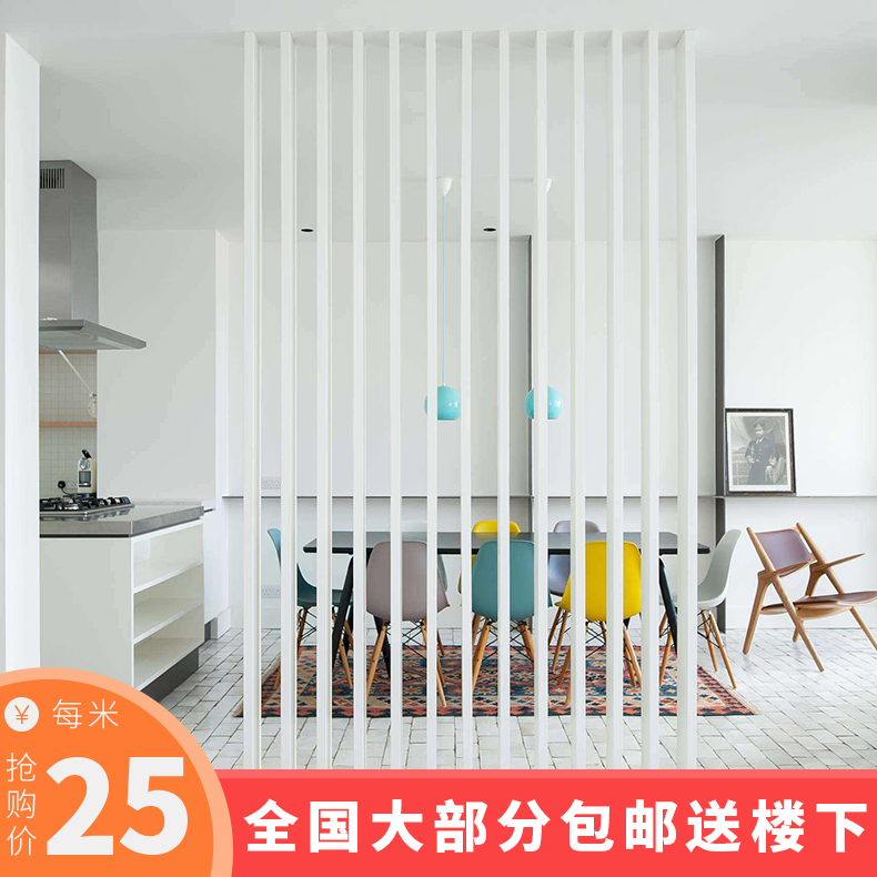 PVC creative vertical bar partition simple hollow screen carved panels TV background wall ecological wooden porch living room