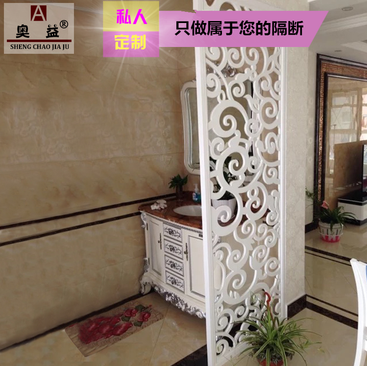 PVC carving board partition density board hollow ceiling solid wood flower lattice living room TV background wall porch screen