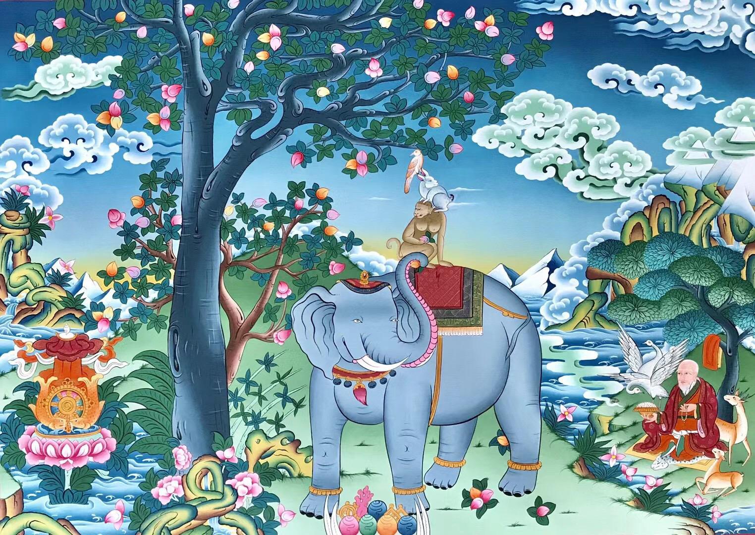 Paix d'invité quatre Français l'oeil de la ville d'autel fleur De Bouddha main un total de trois