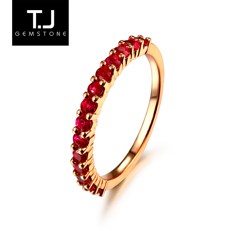 TJ jewelry 70 points natural ruby ring women's volleyball ring color gem nude stone 18K gold inlay simple jewelry