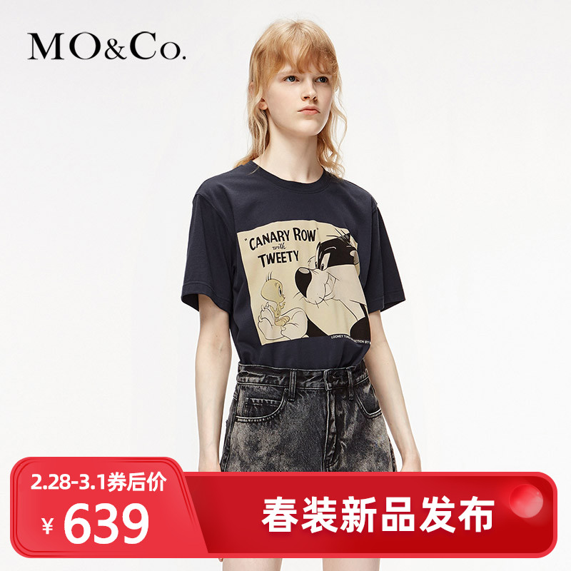 Moco2020 spring new Tweety Cui Di do old printed T-shirt mbo1tee008 Mo Anke