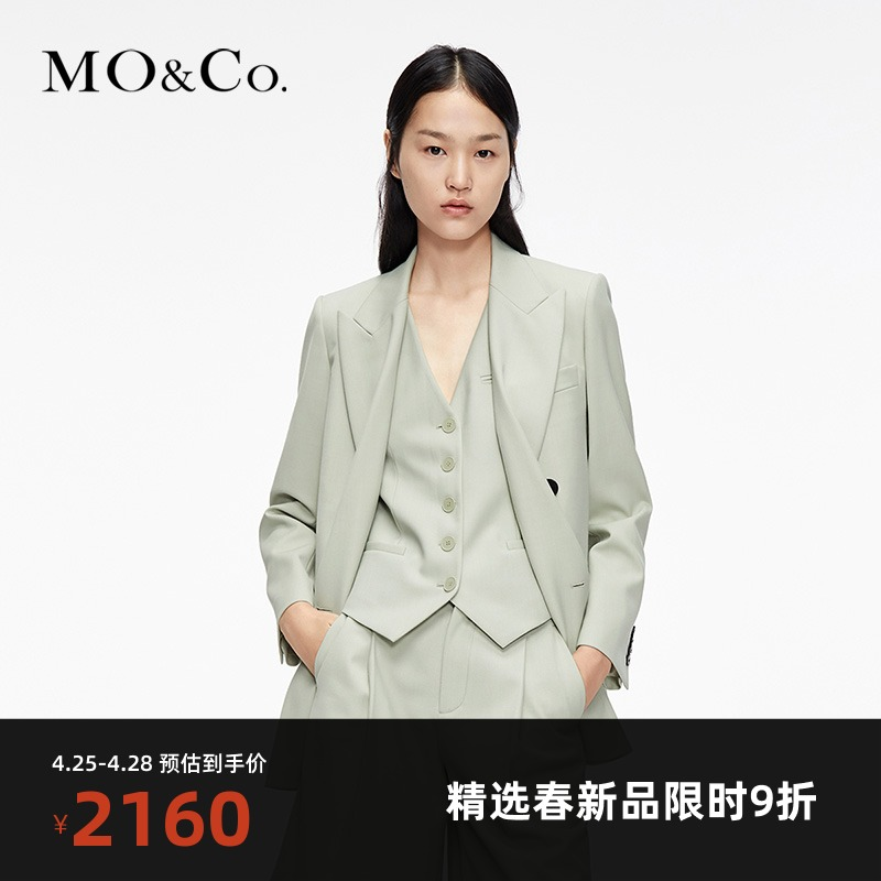 MOCO2021 Spring new product lapel double breasted neutral silhouette wool blazer female Moanke