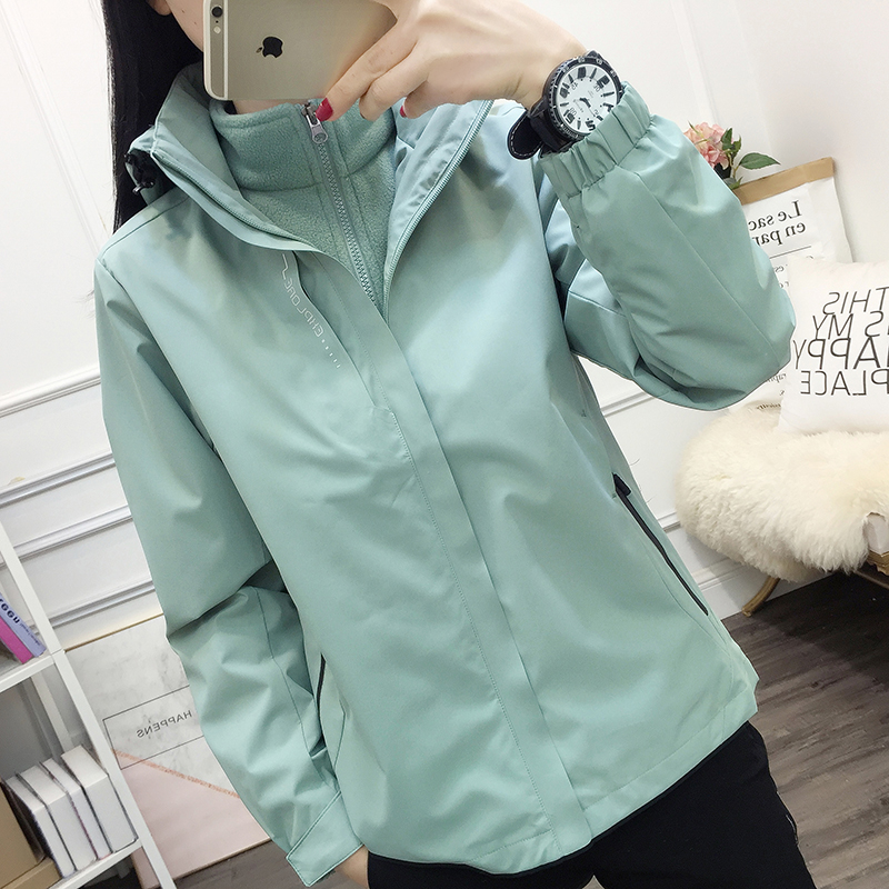 Clearance three-in-one stormwear men and women couples autumn and winter plus plus thick wind jacket group purchase work clothes
