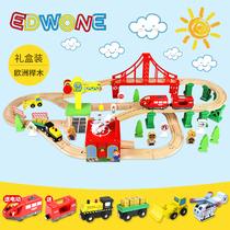 EDWONE train de voie en bois enfants piste voiture jouet garçon assemblé jouet de rail à grande vitesse avec voie petit train
