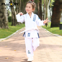 FLUORY fire base Brazilian judo tracksuit female cute embroidered BJJ GI judo dress childrens professional training clothes