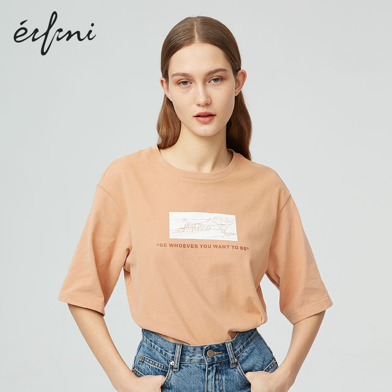 Shopping mall's same evelie 2020 new spring clothes Korean loose T-shirt round neck T-shirt women 1b2300021
