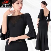 Yimidance modern new top female mid-sleeve dance adult national standard dance dress practice jumpsuit backless jumpsuit