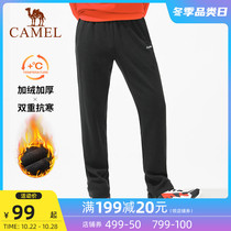 Camel plus velvet sweatpants mens autumn 2020 warm straight pants casual thick cotton pants loose tie pants women